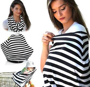Nursing Cover Scarf Breastfeeding Cover & Baby Car Seat Black & White 4 in 1