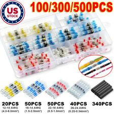 New listing 100/300/500pcs Solder Seal Sleeve Connector Heat Shrink Tubes Butt Wire Terminal