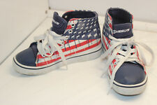 HEELYS RED WHITE BLUE AMERICAN FLAG YOUTH SZ 2 ALLSTAR CANVAS HI TOP SHOES