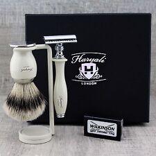 Kit de Afeitado Clásico de aletas plateadas Tejón Brush & Safety Razor Conjunto de regalo Grooming Para Hombre