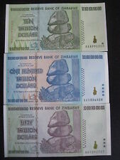 ZIMBABWE $100 $50 $10 Trillion BankNotes CURRENCY SET Uncirculated 2008