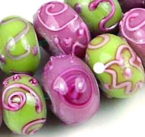 10 Lampwork Handmade Glass Pink Green Blossom Rondelle Beads
