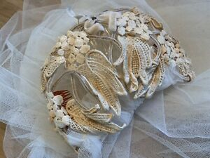 Vintage Bridal Wedding Veil Crocheted Style Juliet Cap w Layers Tulle Netting