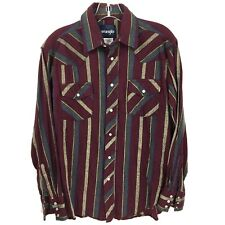 Wrangler Shirt Mens Medium Pearl Snap Button Down Western Maroon Blue Striped