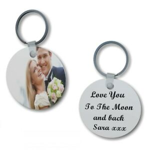 Personalised Photo/Text Round Keyring 2 Sides Printed Gift For Someone Special