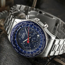 DETOMASO Firenze Mens Wrist Watch Chronograph Stainless Steel Blue 10 ATM New