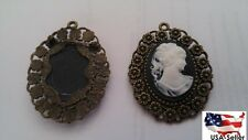 Vintage Cameo white black pin Brooch pendant antique look frame gift decoration