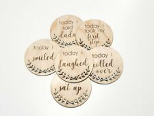 9 Wooden Today I Milestone Cards Rounds Ply Lasered New Born Baby Shower Gift
