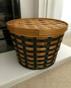 2 x Storage Basket with Lid Wicker Knitting Arts Crafts General New