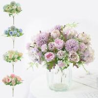 7Head Bouquet Artificial Fake Peony Silk Flower Bridal Hydrangea Decor
