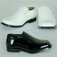 New Boy Toddler Faux Patent Leather Formal Wedding Black White Shoes AU Sz 4.5-9