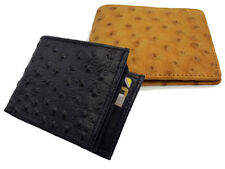 Men's Genuine Leather Bifold Wallet Embossed Ostrich Skin Print Cowboy Western