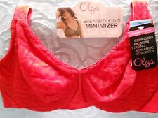c75adc77fd485 OLGA Sheer Leaves Minimizer Bra Size 38 C Solid Red With Floral Lace   35519