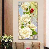 Mosaic White Rose DIY5D Diamond Embroidery Painting Cross Stitch Craft Kit_CSH
