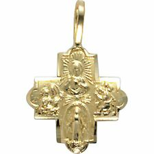 14K Gold Catholic Last Rites 4 Way Medal Cross Charm