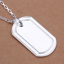 Unisex Men's Women's 925 Sterling Silver Necklace Pendant Military Tag B58