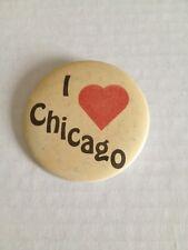 Pinback Button I Love Chicago Vintage Pin Travel Souvenir Jacket Shirt