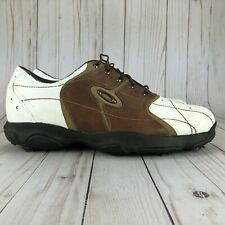 Oakley Bow Tye Golf Shoes White Brown Leather Soft Spikes Mens 14006-138 Size 12
