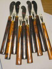 Vintage Brown (tortoise shell-like handle) 5 pair appetizer Knives Forks