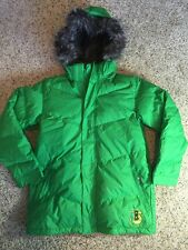 Burton Girls youth teen Green Snowboard Jacket Dry Ride XL 14-16 Fur Hood Kd1