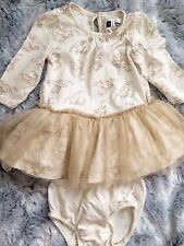 Disney BabyGap 3-6 months Dumbo Infant Baby Girl Tulle Dress Outfit Ivory Gold