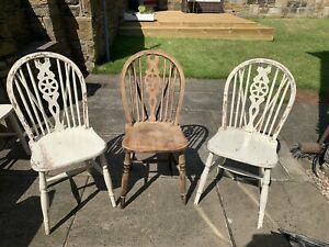 Three Windsor Solid Wood Kitchen Dining Chairs Wheel Back Chairs Upcycle Project