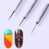 3Stk UV Gel Schlepper Pinsel Spitzpinsel Nail Art Striper Liner Nagel Brush Tool