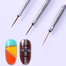 3Stk UV Gel Schlepper Pinsel Spitzpinsel Nail Art Striper Liner Nagel Brush Tool