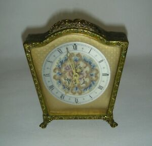 Antique / Vintage petite point embroidered dressing table wind-up metal clock