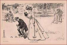 GIBSON GIRL & PARENTS Play CROQUET, antique print, authentic 1902