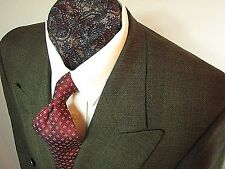 Paul Dione 6 btn Doublebreast 1 to btn olive glen plaid wool business suit 40 S