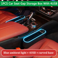 1PC Car Seat Gap Pocket Catcher Organizer Left Side With Light 4USB Phone Charge