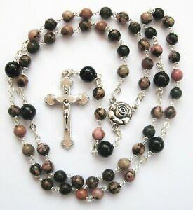 Handmade Quality Rhodonite and Black onyx Saint Therese Gemstone Rosary