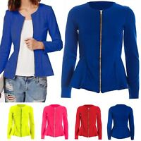 Womens Zip Peplum Ruffle Frill Tailored Blazer Ladies Jacket Top Plus Size 8-26