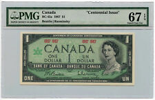"""1967 Bank of Canada $1 Note BC-45a PMG Superb Gem UNC 67 EPQ """"Centennial Issue"""""""