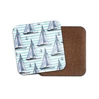 Sailing Boat Pattern Coaster - Ship Anchor Ocean Fishing Sea Sail Gift #16985