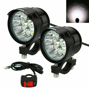 2PCS Motorcycle 10x XM-T6 LED Headlight 90W Driving Fog Spot Light Lamp+Switch