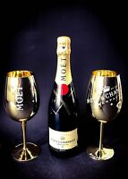 Moet Chandon Impérial Champagner 0,75l Flasche 12% Vol + 2 Gold Glas Gläser