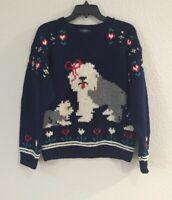 Woolrich Blue Sweater Dog Sheepdog 100% Wool Size S Vintage Women's Heavy EUC