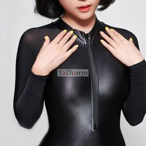 LEOHEX Sexy Swimsuit Japanese スク水 Sports Swimwear One-piece Long Sleeve Tights A