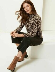 MARKS & SPENCER ANIMAL PRINT FUNNEL NECK LONG SLEEVE TOP sizes 8 to 24