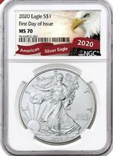 2020 (W) Silver Eagle Struck At West Point NGC MS70 FDOI Eagle Label