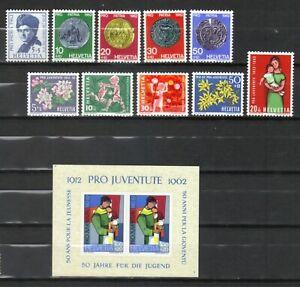 Suiza, año 1962, 2 series, 1 bloque, completo en nuevo **/MNH, Michel-Euro 13,90