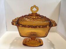 Indiana Glass Amber Gold Candy Dish