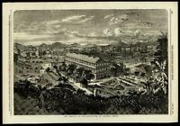 Hong Kong harbor birds eye view China 1856 remarkable ILN wood engraved print