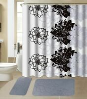 All American Collection New 15 Piece Bathroom Mat Set Memory Foam with Curtain