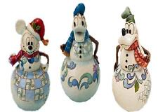 Jim Shore Christmas Swaying Snowman Mickey Donald Goofy set 3 Disney Traditions