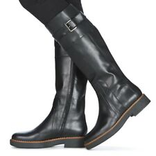 New Geox Women's Adrya Tall Black leather zip up Riding Boots Size 39EU/9US