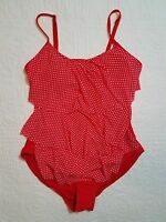 NEW WOMENS TROPICAL ESCAPE RED POLKA DOT ONE PIECE SWIMSUIT SZ 14 NWT $84