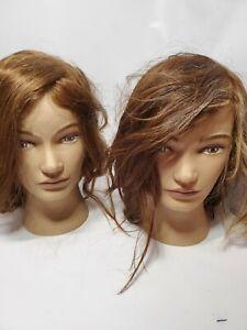 Set Of 2 Cosmetology Mannequin Heads Pivot Point brunette auburn ellie erika